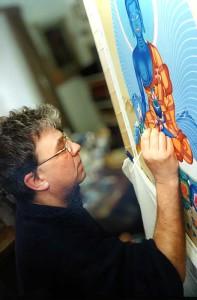 Работа над изображением Будды Медицины